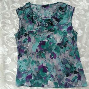 Anne Klein aqua & purple sleeveless top